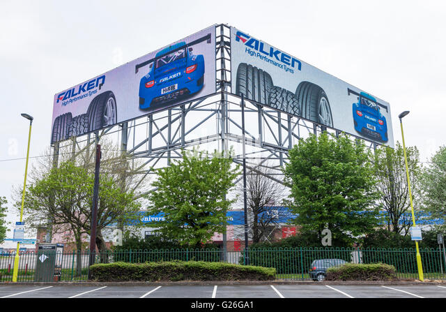 High level electronic advertising billboard, Bescot, Walsall, West Midlands, England, UK - Stock Image