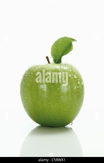 Green apple with leaf - Stock Image