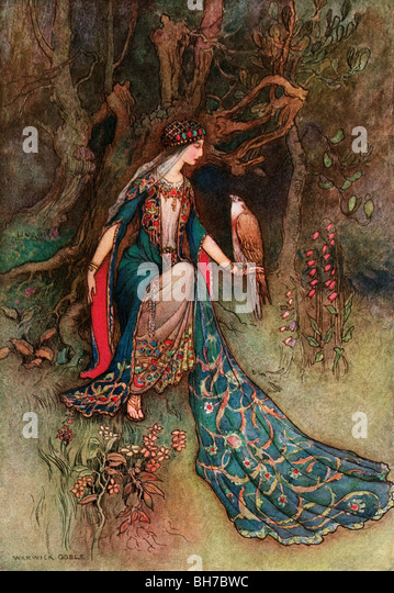 Canacee and the Falcon, by Warwick Goble, from The Complete Poetical Works of Geoffrey Chaucer, 1912. - Stock Image