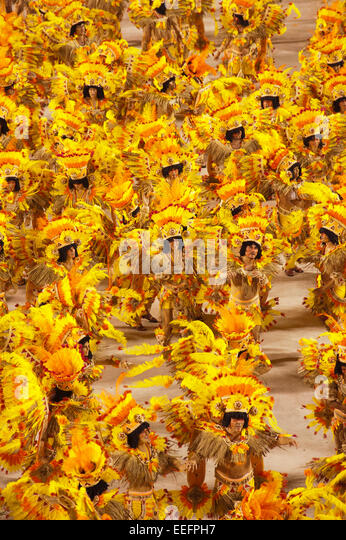 Rio de Janeiro, Brazil, 14th February 2010 - Samba school presentation at sambodromo in carnival 2010. - Stock Image