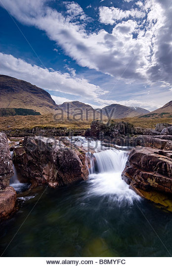 Waterfall in Glen Etive, Highlands, Scotland, UK. - Stock-Bilder