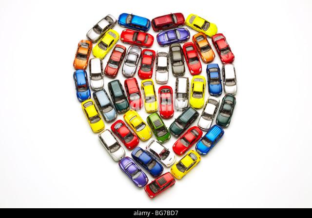 Model Cars in Heart Shape - Stock Image