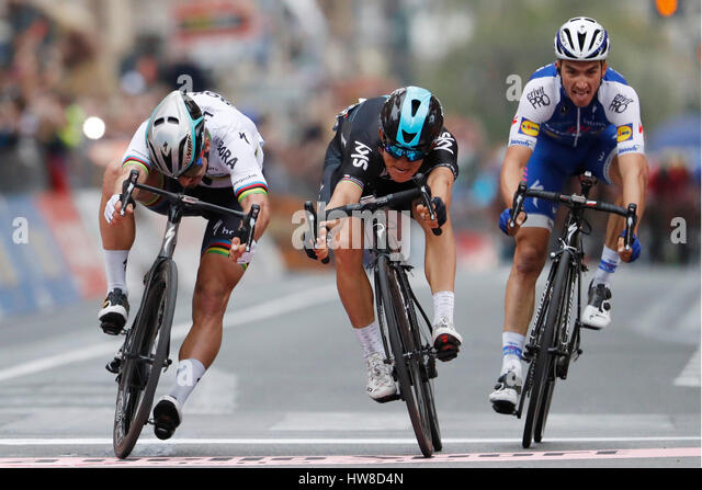 18 March 2017 108th Milano - Sanremo 1st : KWIATKOWSKI Michal (POL) Sky 2nd : SAGAN Peter (SVK) Bora - Hansgrohe - Stock Image