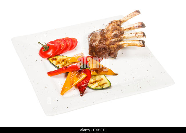 Gourmet Main Entree Course Grilled Lamb steak - Stock Image
