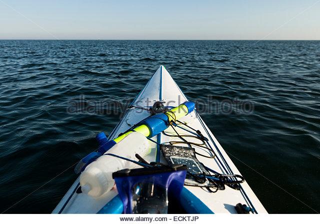 Cropped image of kayak on sea - Stock Image