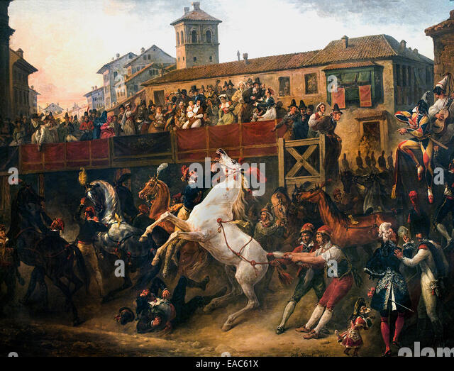 Antoine Charles Horace Vernet said Carle 1758-1836  France FrenchFree Horse Racing on the Corso in Rome Italy - Stock Image