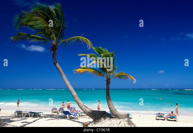Palm beach Playa Bavaro, Punta Cana, Dominican Republic, Caribbean - Stock Image