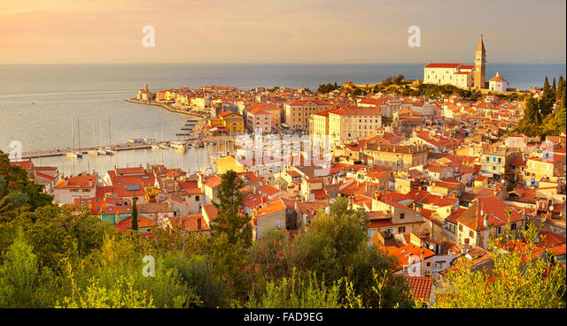Old city Piran, Slovenia - Stock Image