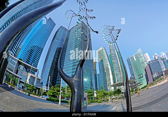 Skyscrapers of the Financial Centre and modern sculptures, Singapore, Southeast Asia, Asia - Stock Image