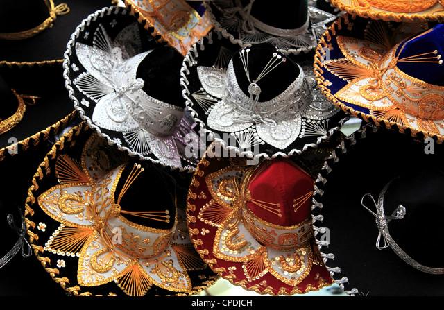 Sombreros, Municipal Market, Oaxaca City, Oaxaca, Mexico, North America - Stock-Bilder