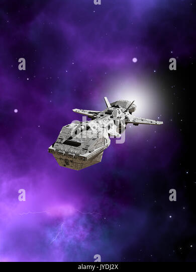 Interplanetary Spaceship Flying Away From a Nebula - Stock Image