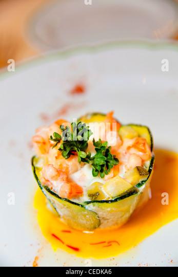 Small shrimp and zucchini pie - Stock Image