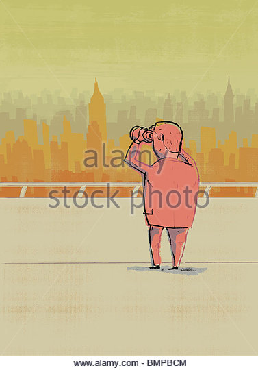Businessman with binoculars looking at city - Stock Image