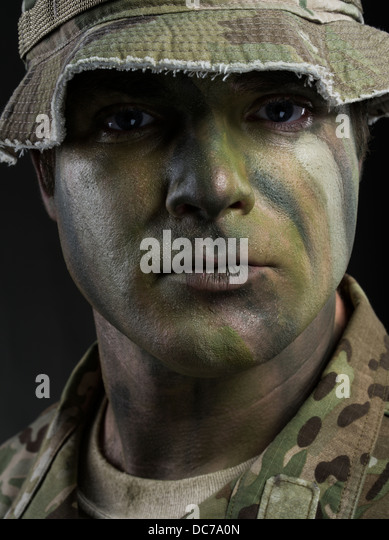 Portrait of a U.S. Army Special Forces Green Beret soldier - Stock Image