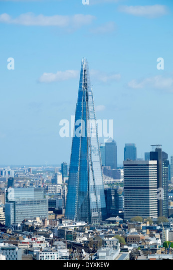 View of The Shard new skyscraper and skyline of London United Kingdom - Stock Image