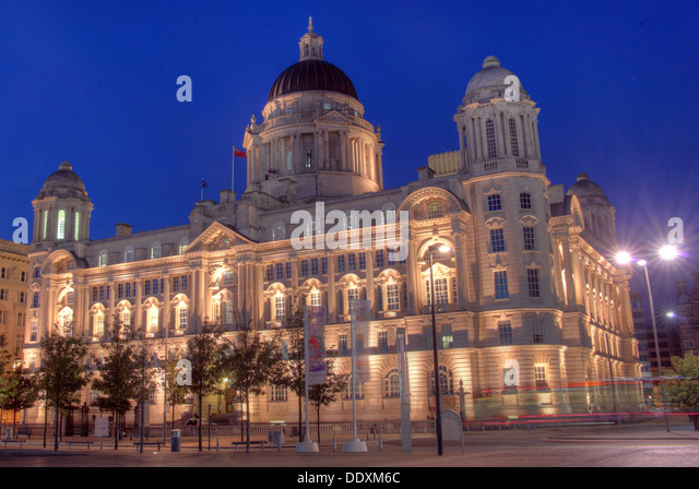 Pier Head Port of Liverpool at Nighttime Merseyside England UK - Stock Image