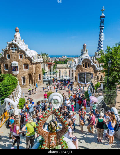Spain, Catalonia, Barcelona, Gracia district, Park Güell, the dragon fountain at the park entrance is a popular - Stock Image