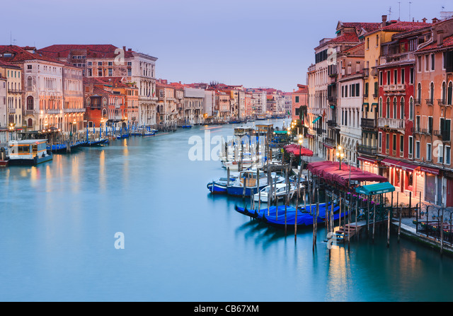 Sunrise in Venice from the Rialto Bridge with the view on the Grand Canal - Stock Image