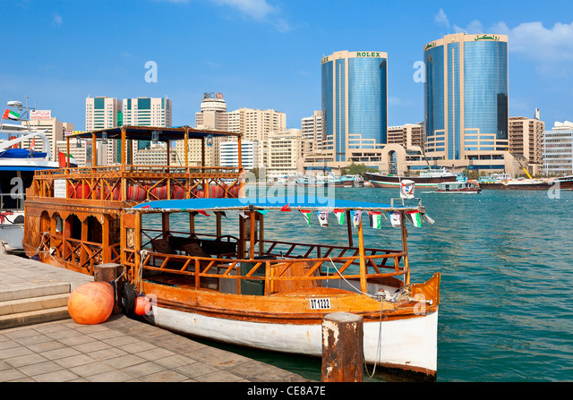 Dubai Creek to the Deira section of Dubai City, Dubai, - Stock Image