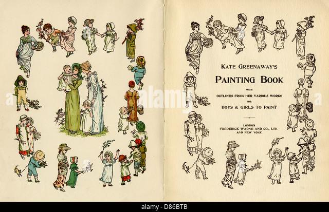 Illustrations  Kate Greenaways Painting Book - Stock-Bilder