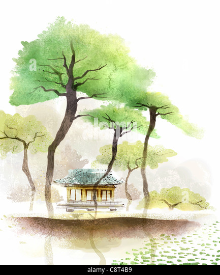 Tree And China Traditional House - Stock Image