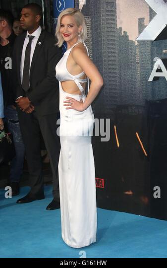 London, UK. 9th May, 2016. Jennifer Lawrence attending 'X-Men Apocalypse' Global Fan Screening at BFI Imax - Stock Image