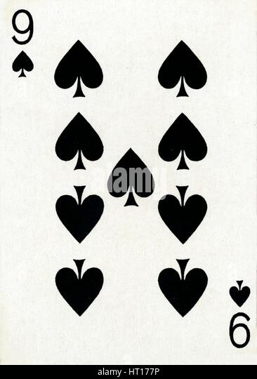 9 of Spades from a deck of Goodall & Son Ltd. playing cards, c1940. Artist: Unknown. - Stock Image