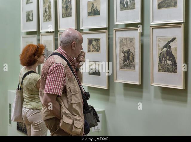 VOZNESENSK, UKRAINE - JUNE 02, 2017: Unrecognized people visit Eugene Kibrik art museum opened in 1985. Kibrik was - Stock Image