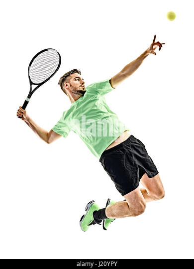 one caucasian  man playing tennis player isolated on white background - Stock Image