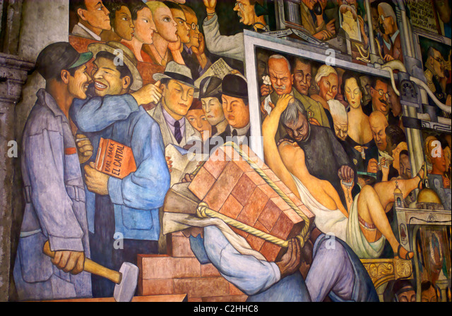 Detail of mural by Diego Rivers depicting the history of Mexico, National Palace or Palacio Nacional, Mexico City - Stock-Bilder