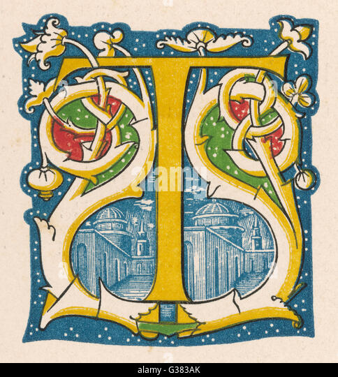 'T' -  illustrated in a medieval  style.       Date: 15th century - Stock Image