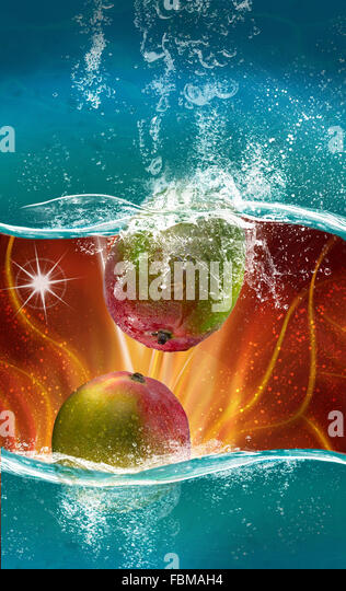 Close-Up Of Fruits In Water - Stock Image