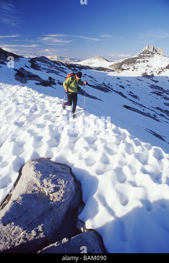 Climber on sierra nevada mountains - Stock Image