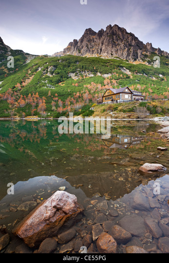 Zelene Pleso Lake and Mountain Cottage in the High Tatras Mountains, Slovakia, Europe. Autumn (October) 2011. - Stock Image