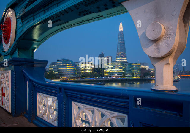 River Thames, the Shard, City Hall before dawn, viewed from Tower Bridge, London, England - Stock Image