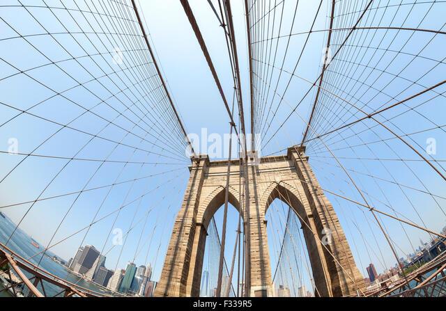 Brooklyn Bridge in fisheye lens, NYC, USA. - Stock Image