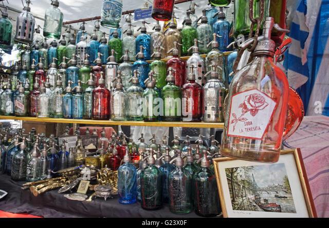 Soda Water bottles at Antique market, Plaza Dorrego,  San Telmo,  Buenos Aires, Argentina - Stock Image