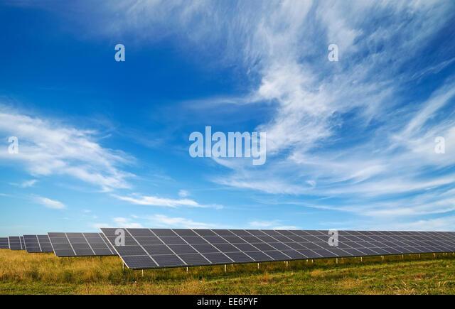 Solar Panels at a Solar Park, Watchfield, Oxfordshire, UK. - Stock Image