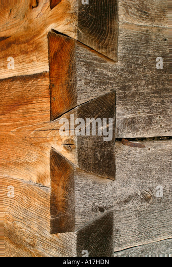 A Detail of a Dovetail Joint in a house, Sighet, Romania. - Stock Image