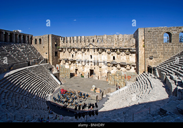 Turkey June 2008 Aspendos city ancient city ancient site historic ruin ruins Roman history Theatre - Stock Image