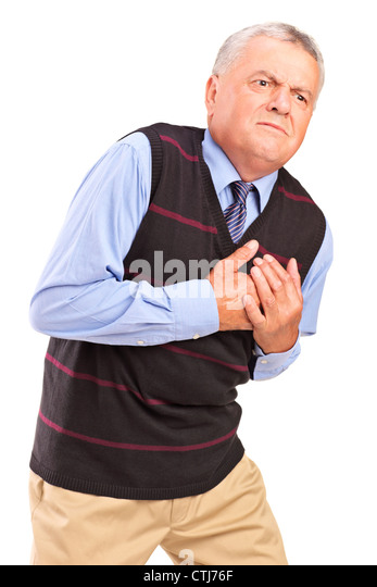 Mature man having a heart attack, isolated on white background - Stock Image