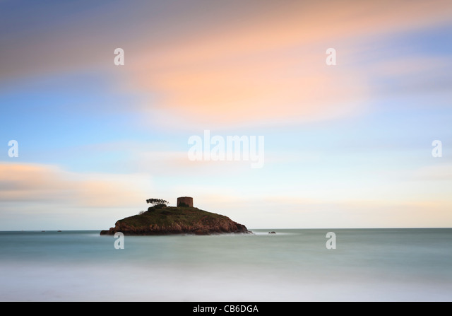 Sunset at Portelet, Jersey, Channel Islands - Stock Image