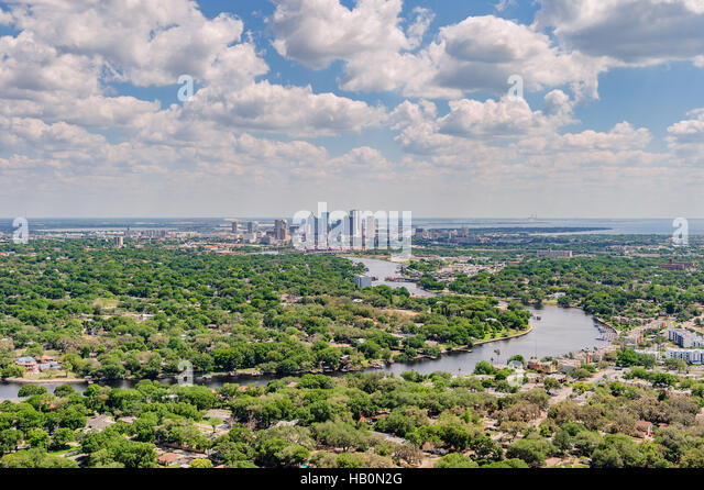 Aerial view of Tampa Florida with the Hillsborough River flowing to the bay. - Stock Image