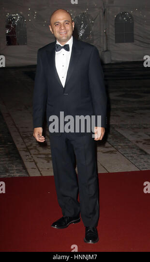 Feb 02, 2017  - Sajid Javid attending The British Asian Trust reception and dinner, Guildhall - Red Carpet Arrivals - Stock Image