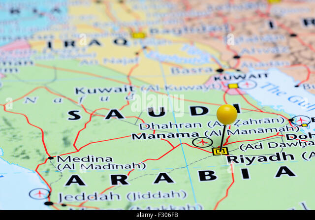 Riyadh pinned on a map of Asia - Stock Image