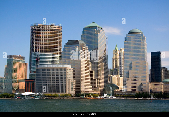 Modern office buildings skyscrapers along lower West Side in New York City New York USA - Stock-Bilder