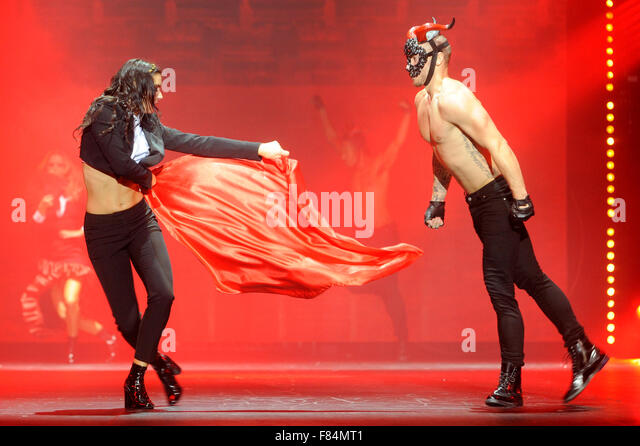 Dancers on the Fashion Theatre stage at Clothes Show Live, NEC, Birmingham, UK, 5th December 2015. A fashionista's - Stock Image