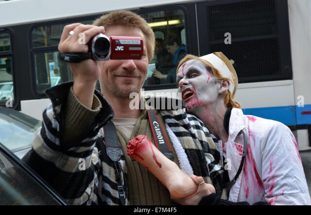 MONTREAL, QC/CANADA - OCTOBER 22 - Zombies at the 2011 Montreal Zombie Walk - 2011/10/22 - Stock Image