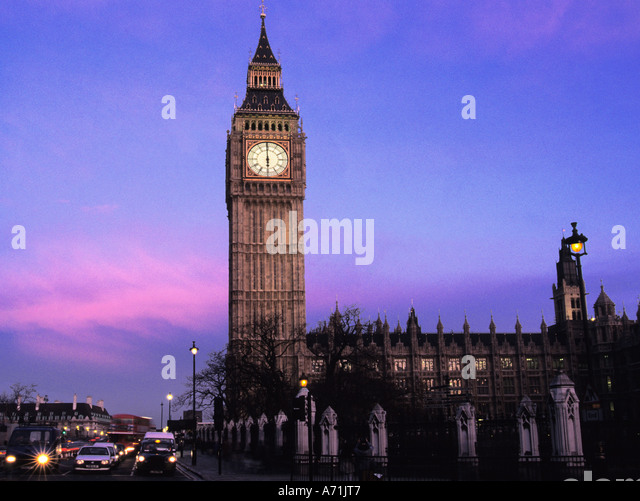 England United Kingdom UK Great Britain Westminster London Big Ben Houses of Parliament at Dusk Europe - Stock Image