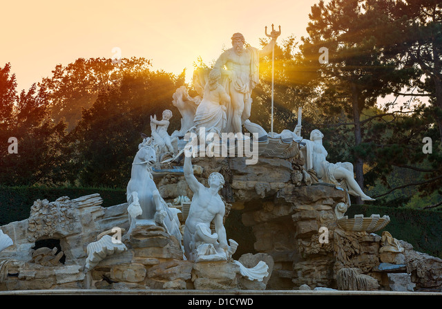 Neptune Fountain at Schönbrunn Palace, Vienna - Stock Image